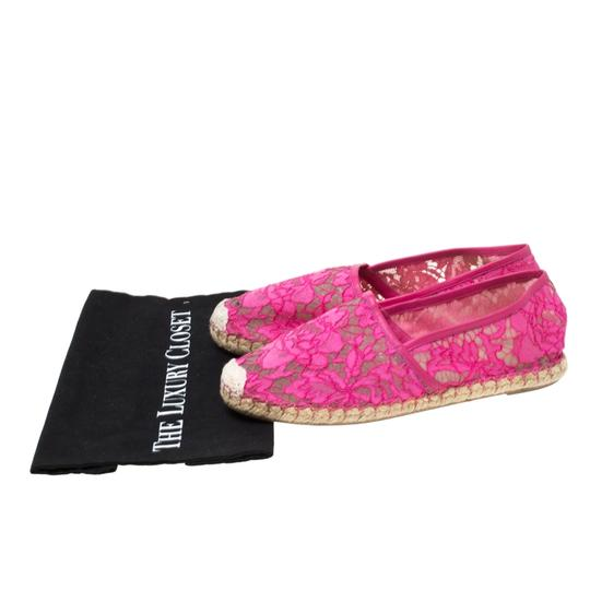 Valentino Lace Mesh Leather Rubber Pink Flats Image 7