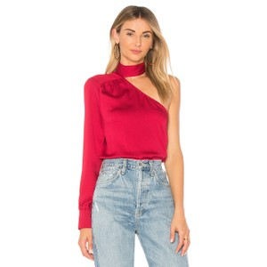 1.STATE One Shoulder Tie Longsleeve Monochrome Top Red