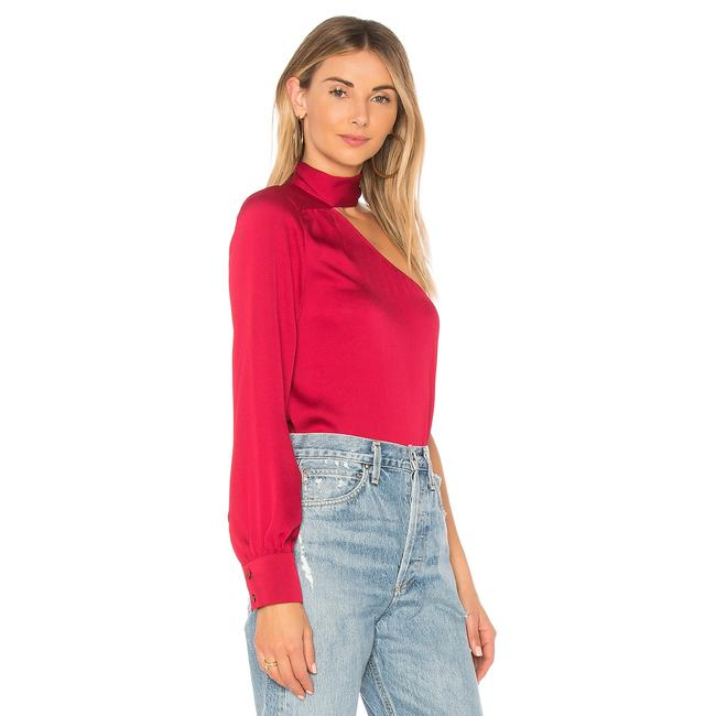1.STATE One Shoulder Tie Longsleeve Monochrome Top Red Image 1