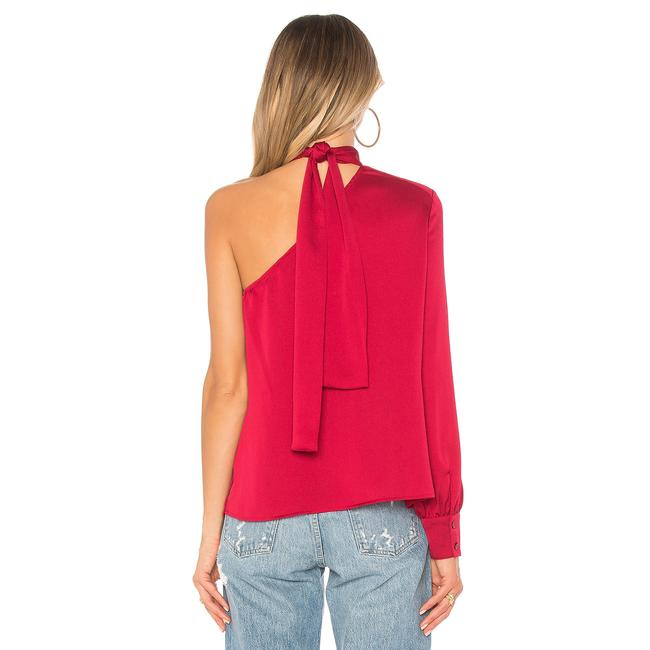 1.STATE One Shoulder Tie Longsleeve Monochrome Top Red Image 2