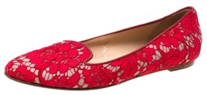 Valentino Lace Leather Floral Red Flats