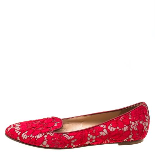 Valentino Lace Leather Floral Red Flats Image 1