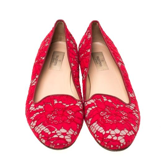 Valentino Lace Leather Floral Red Flats Image 2