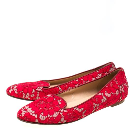 Valentino Lace Leather Floral Red Flats Image 3