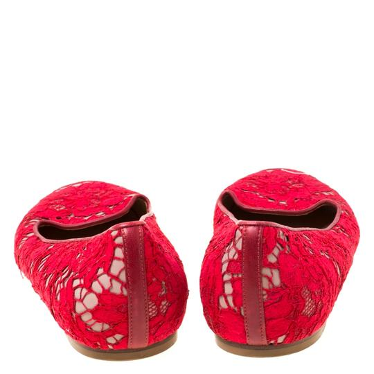 Valentino Lace Leather Floral Red Flats Image 4