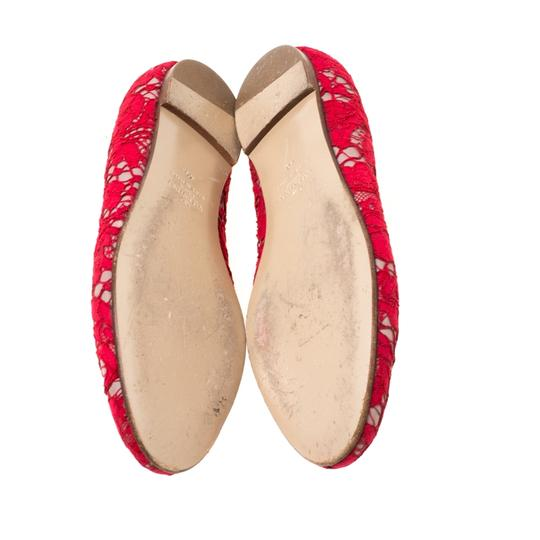Valentino Lace Leather Floral Red Flats Image 5