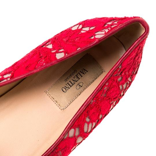 Valentino Lace Leather Floral Red Flats Image 6