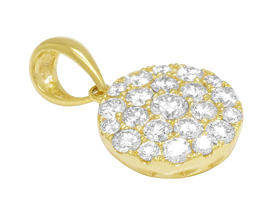 Jewelry Unlimited 14K Ladies Yellow Gold Round Flower Cluster Pendant Set 0.75