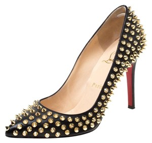 Christian Louboutin Leather Spike Embellished Pointed Toe Black Pumps