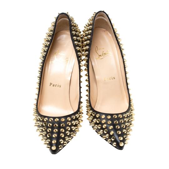Christian Louboutin Leather Spike Embellished Pointed Toe Black Pumps Image 2