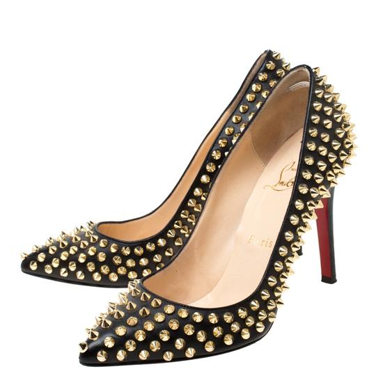 Christian Louboutin Leather Spike Embellished Pointed Toe Black Pumps Image 3
