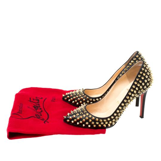 Christian Louboutin Leather Spike Embellished Pointed Toe Black Pumps Image 7