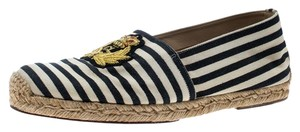 Christian Louboutin Striped Canvas Embroidered Espadrille White Flats