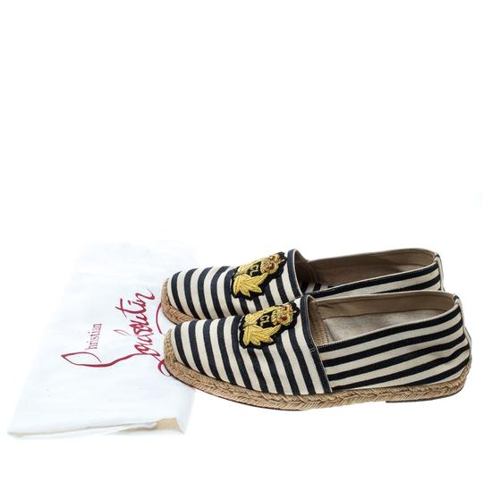 Christian Louboutin Striped Canvas Embroidered Espadrille White Flats Image 2