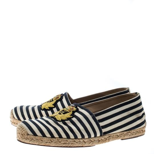 Christian Louboutin Striped Canvas Embroidered Espadrille White Flats Image 3