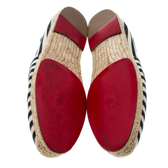 Christian Louboutin Striped Canvas Embroidered Espadrille White Flats Image 5