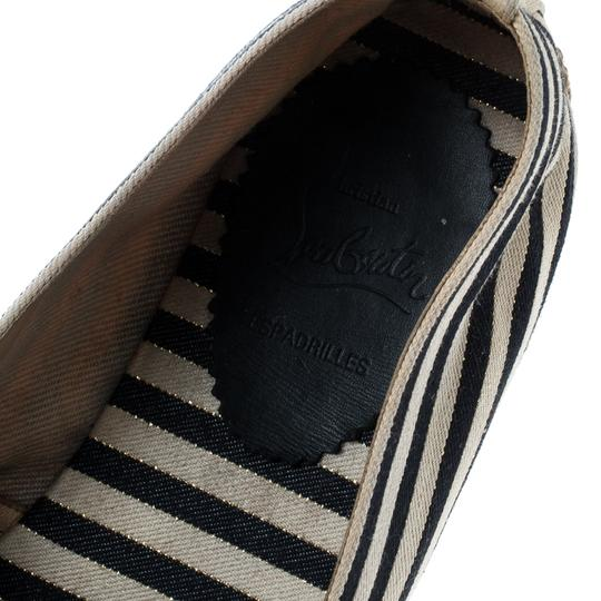 Christian Louboutin Striped Canvas Embroidered Espadrille White Flats Image 7