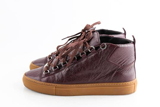 Balenciaga Red Burgundy Arena High-top Sneakers Shoes Image 2