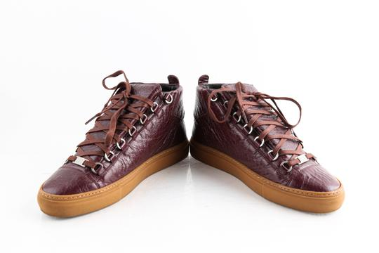 Balenciaga Red Burgundy Arena High-top Sneakers Shoes Image 5