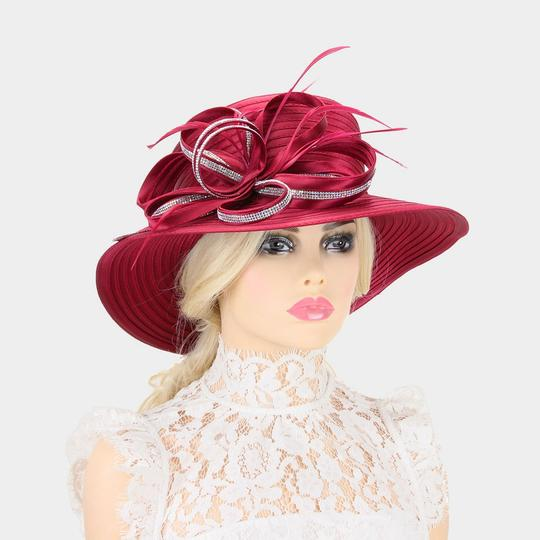 kentucky derby hat New Stone Trim Lopped Bow Braid Church Hat Image 1