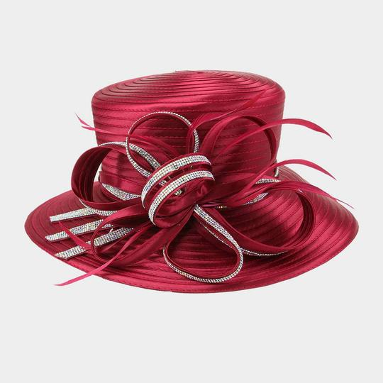 kentucky derby hat New Stone Trim Lopped Bow Braid Church Hat Image 2