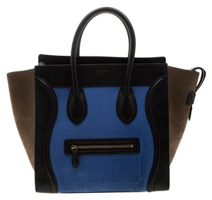 Céline Leather Suede Tote in Blue