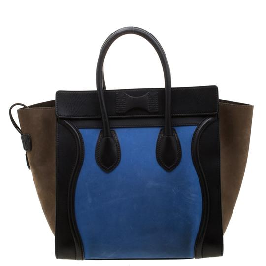 Céline Leather Suede Tote in Blue Image 1