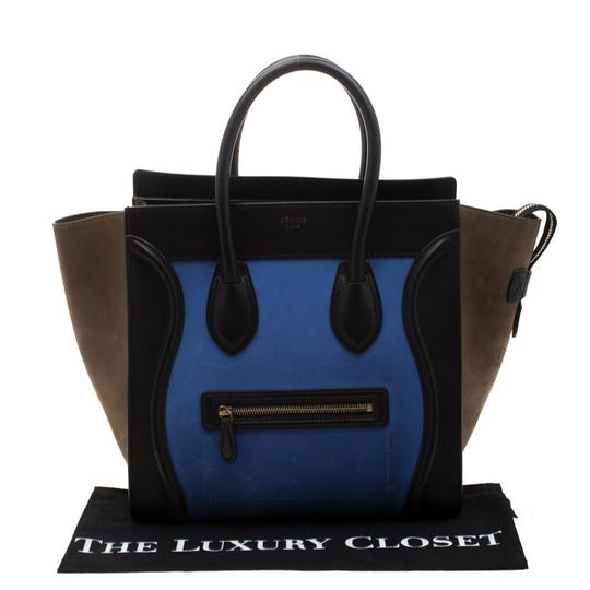 Céline Leather Suede Tote in Blue Image 10
