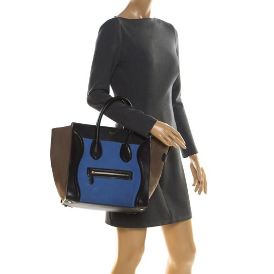 Céline Leather Suede Tote in Blue Image 2