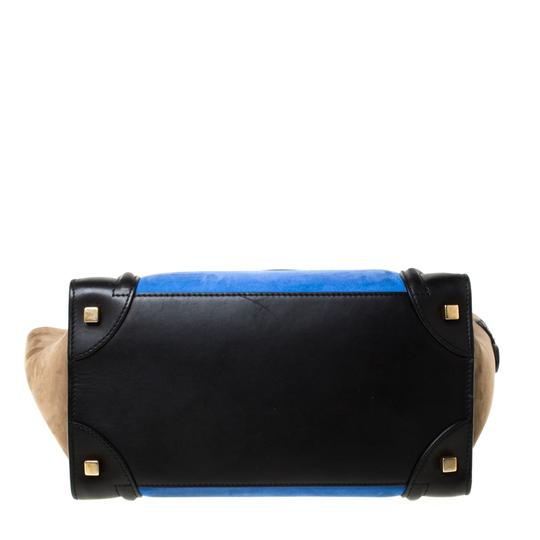 Céline Leather Suede Tote in Blue Image 3