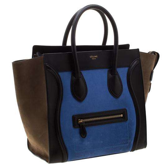 Céline Leather Suede Tote in Blue Image 7