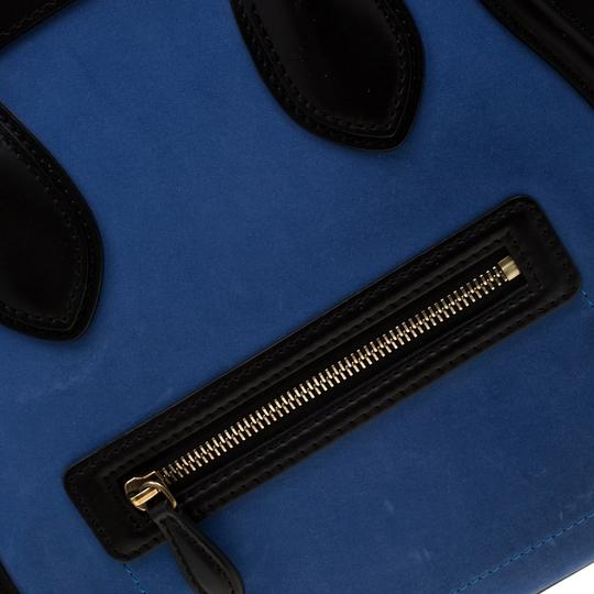 Céline Leather Suede Tote in Blue Image 9