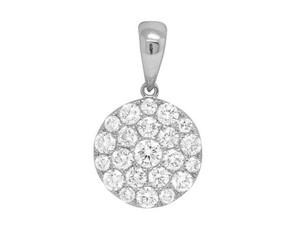 Jewelry Unlimited 14K Ladies White Gold Round Flower Cluster Pendant Set 0.75