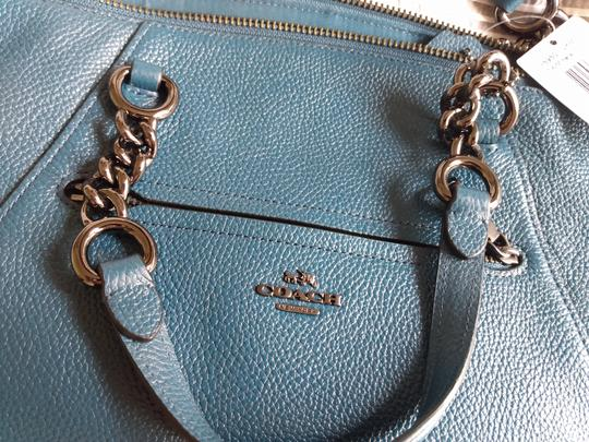 Coach Prairie Leather Chain Light Saddle Satchel in Dark Mineral Image 1