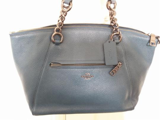 Coach Prairie Leather Chain Light Saddle Satchel in Dark Mineral Image 3