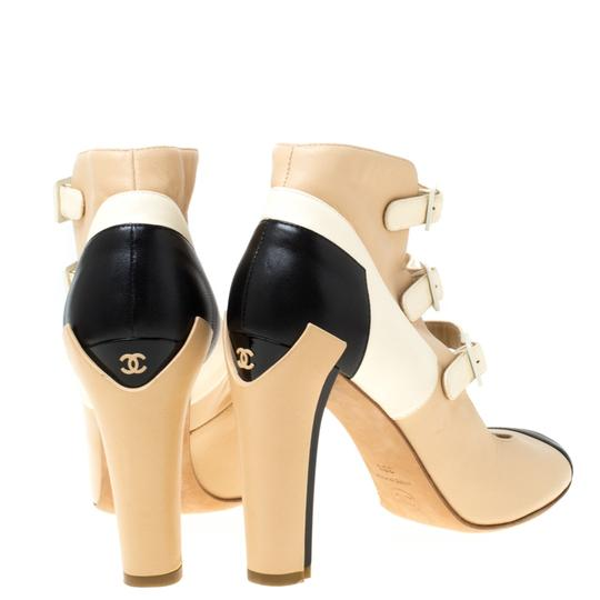 Chanel Leather Strappy Beige Boots Image 2