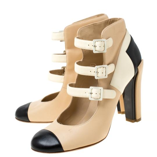Chanel Leather Strappy Beige Boots Image 4