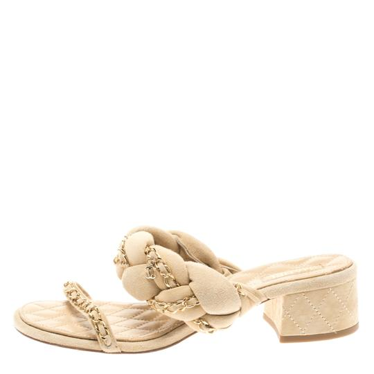 Chanel Suede Chain Embellished Flat Beige Sandals Image 1