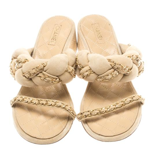 Chanel Suede Chain Embellished Flat Beige Sandals Image 2