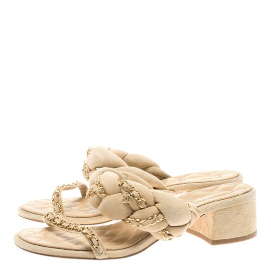 Chanel Suede Chain Embellished Flat Beige Sandals Image 3