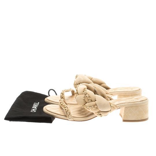 Chanel Suede Chain Embellished Flat Beige Sandals Image 7