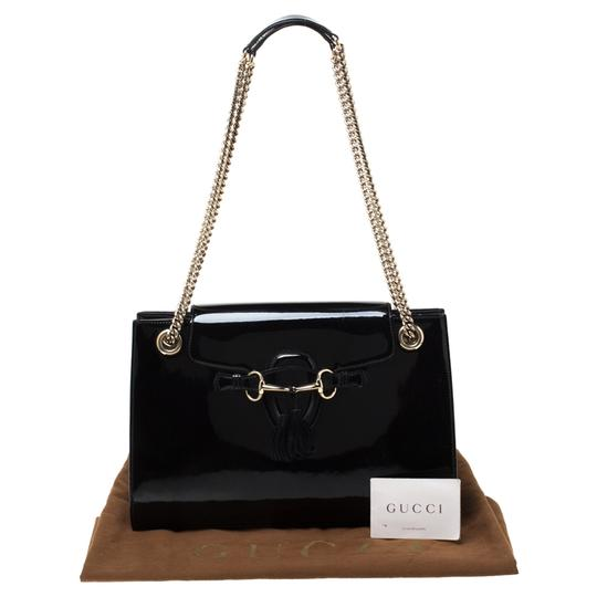 Gucci Patent Leather Canvas Shoulder Bag Image 11
