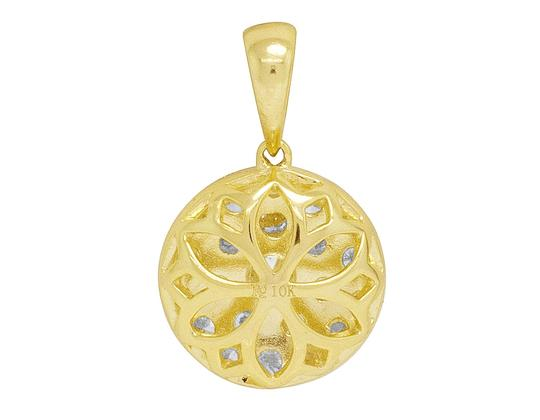 Jewelry Unlimited Ladies Yellow Gold Round Flower Cluster Pendant Set 0.8