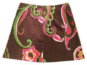 Trina Turk Paisley Los Angeles Mini Skirt Brown multi pink green