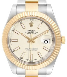 Rolex Rolex Datejust II Steel Yellow Gold Silver Dial Watch 116333 Box Card