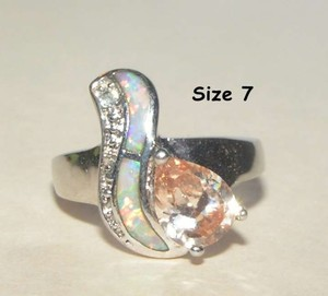Champagne Topaz Opal Fashion Ring Free Shipping