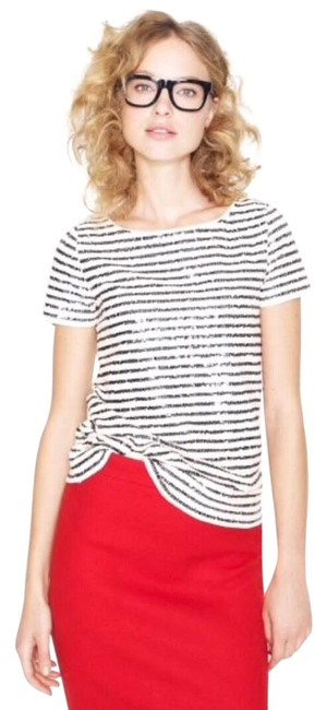 Preload https://img-static.tradesy.com/item/26156856/jcrew-sequin-stripe-tee-blouse-size-8-m-0-1-650-650.jpg