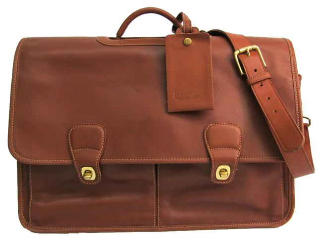 Item - 0532 Unisex Briefcase Brown Leather Messenger Bag