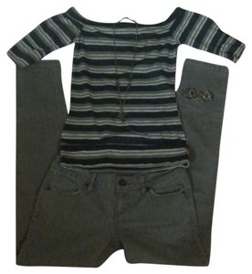 Green Apple Top Multi striped Grey, white and Dark grey