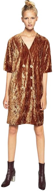 Item - Brown Crossover 6-button Front Elbow Sleeves Crushed Velvet Shift Short Night Out Dress Size 6 (S)